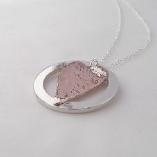 Stunning Handmade Two Tone Sterling Silver Ring & Copper Heart Layered Pendant